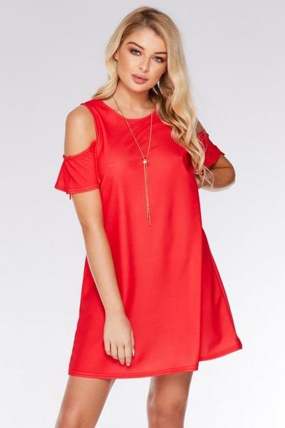 Coral  Cold Shoulder Shift Necklace Dress