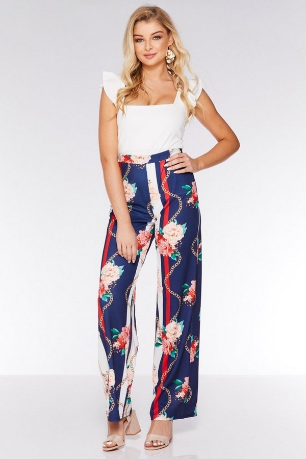Navy Cream and Coral Palazzo Trousers