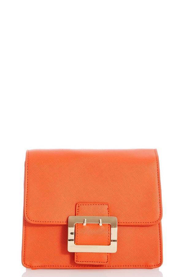 Orange Square Buckle Bag