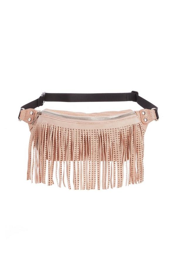 Pink Jewel Fringe Bum Bag