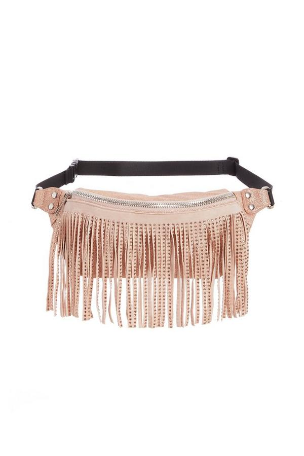 Pink Jewel Fringe Bum Bag