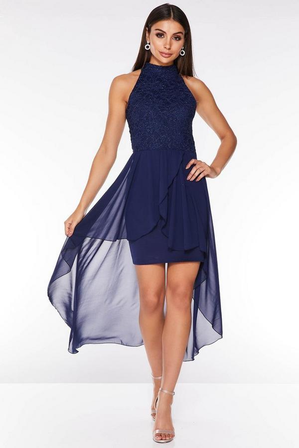 Navy Glitter Lace Turtle Neck Dip Hem Dress