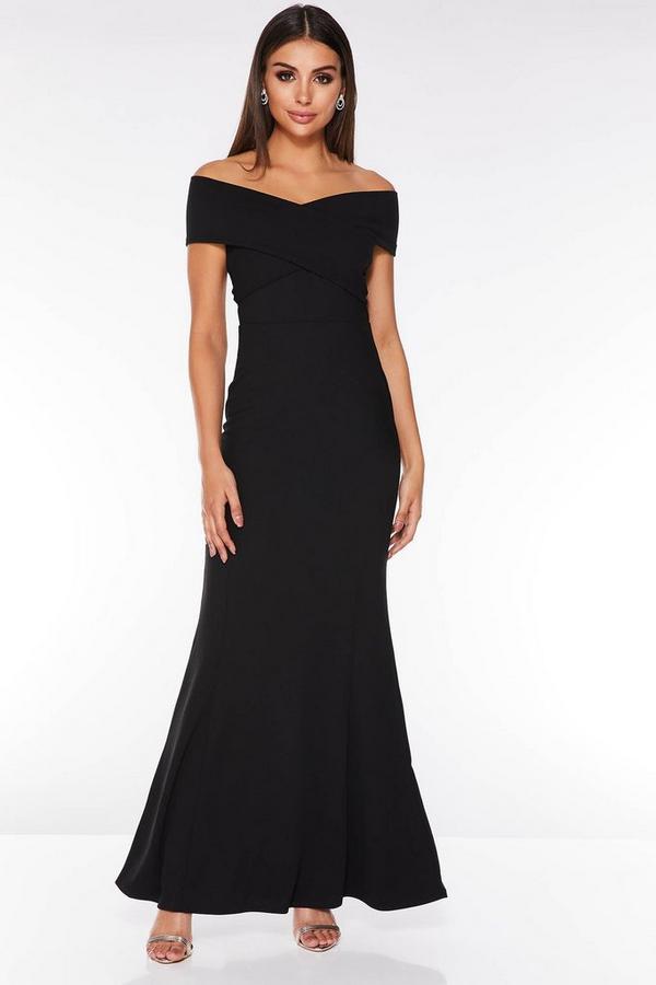 Black Bardot Wrap Front Maxi Dress