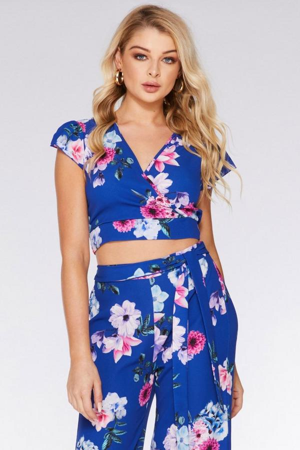 Royal Blue and Pink Floral Crop Top