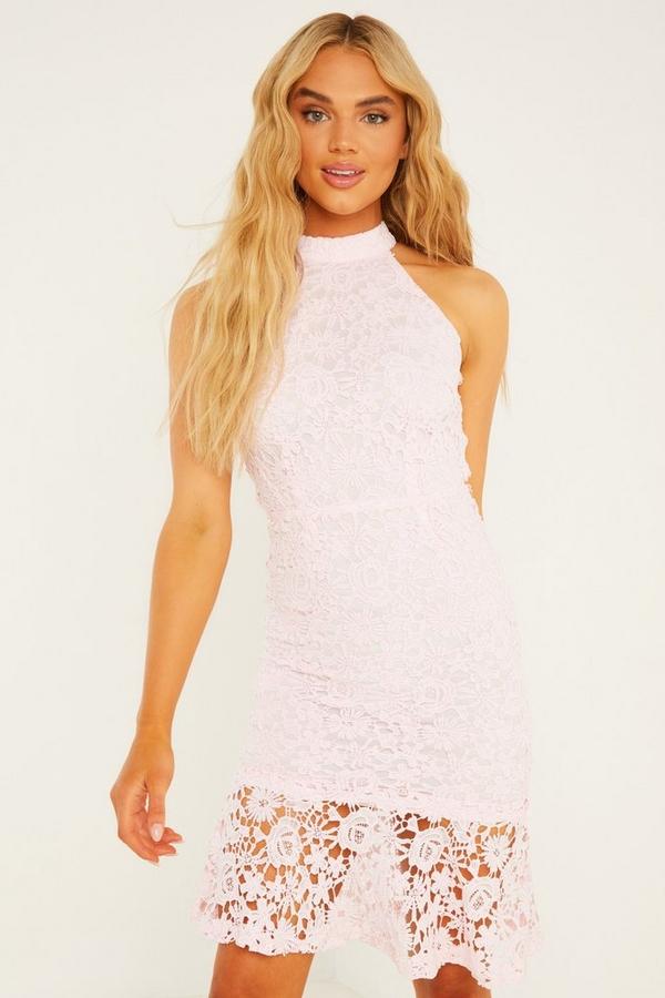 Pale Pink Crochet High Neck Midi Dress