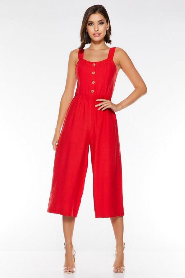 Red Linen Square Neck Culotte Jumpsuit