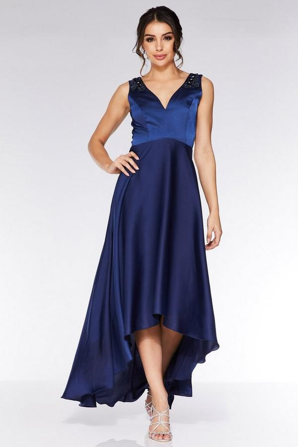 Navy Satin Embellished Dip Hem Dress