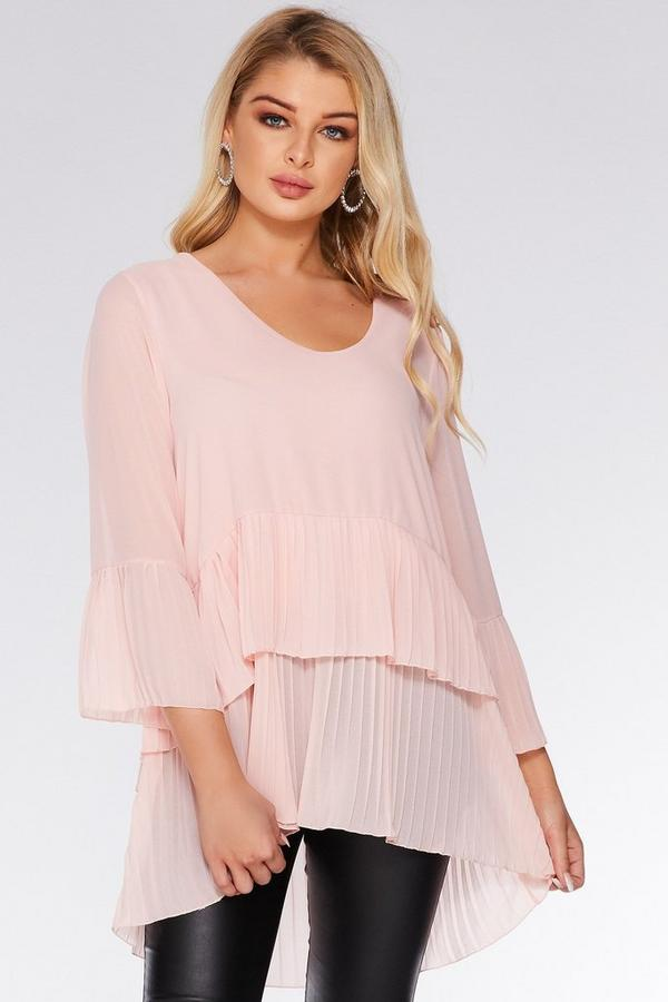 Pale Pink Chiffon Pleated Top
