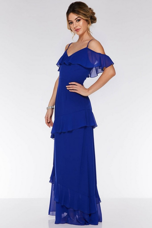 Royal Blue Cold Shoulder Maxi Dress