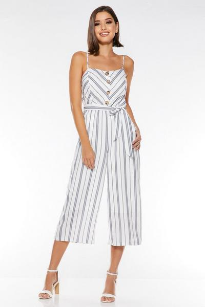 White and Navy Linen Stripe Jumpsuit