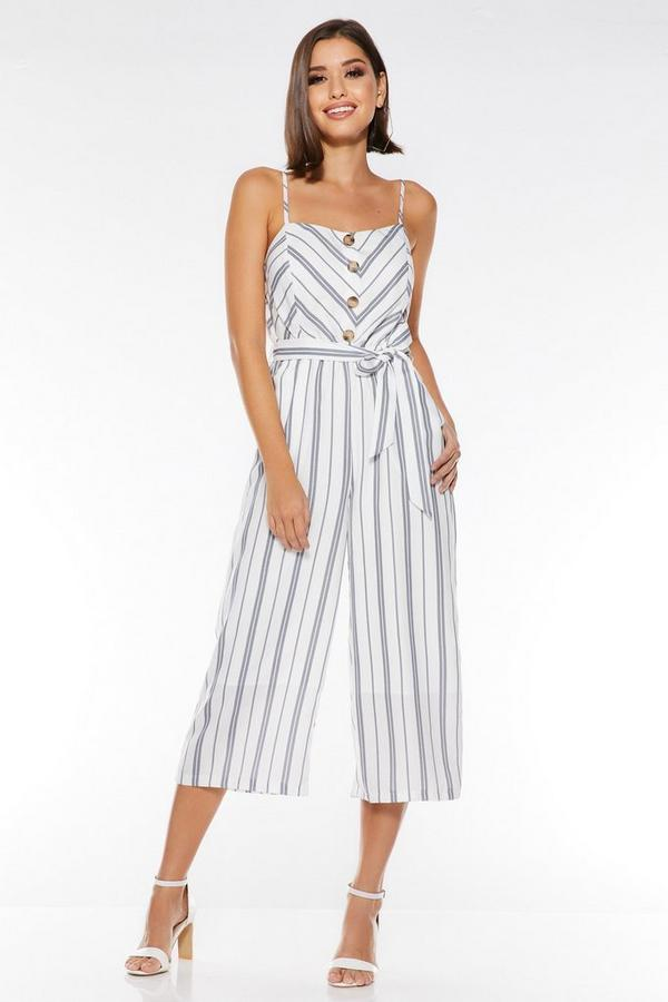 White and Navy Linen Stripe Culotte Jumpsuit