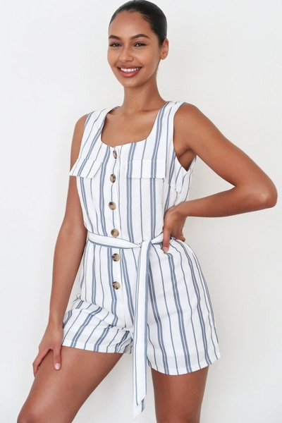White And Navy Linen Stripe Playsuit
