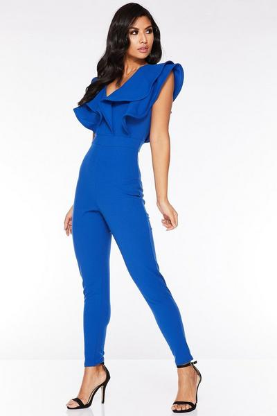 Royal Blue Double Frill V Front Jumpsuit