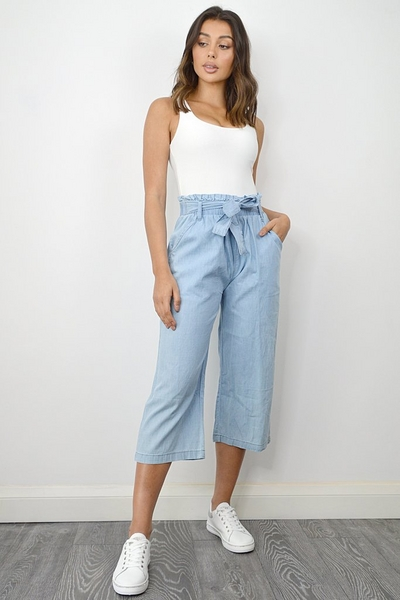 Blue Chambray Paper Bag Culotte Trousers