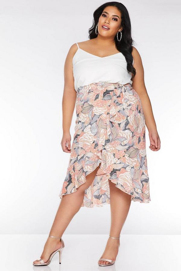 Curve Nude and Pink Abstract Print Wrap Skirt