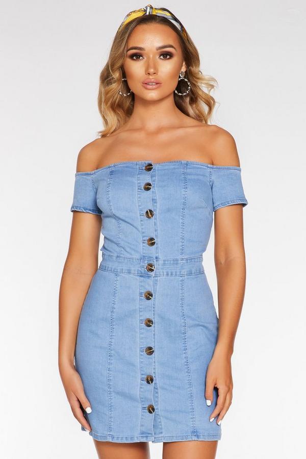 Denim Bardot Button Front Bodycon Dress