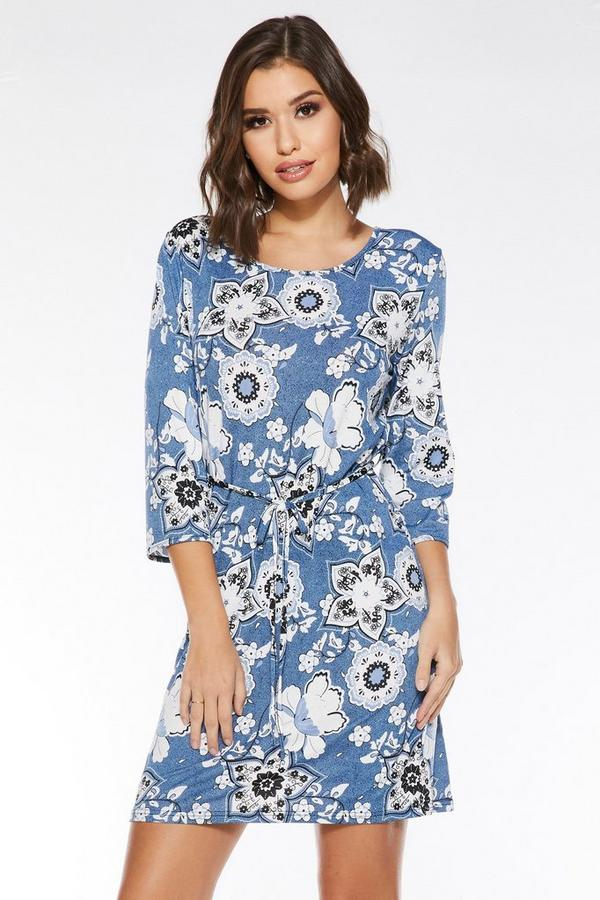 Blue And White Floral 3/4 Sleeve Dress