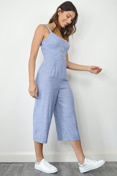 Blue Stripe Button Front Culotte Jumpsuit