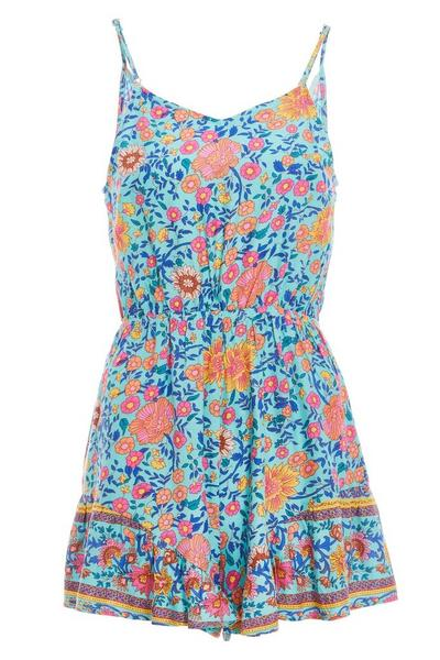 Turquoise and Pink Floral Print Playsuit