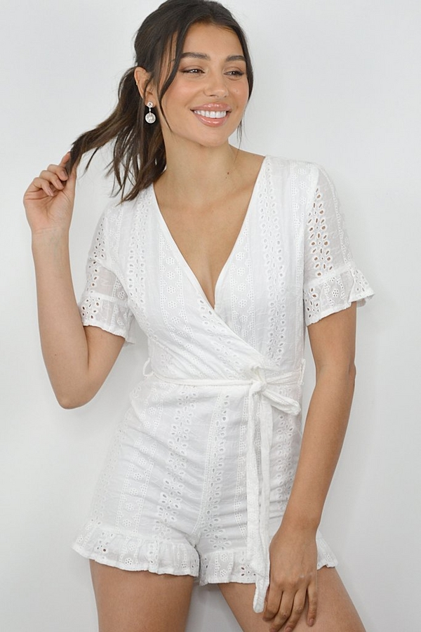White Broderie Wrap Playsuit