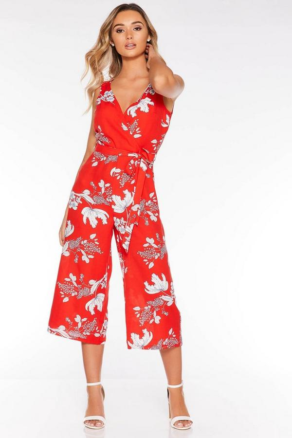Red and White Floral Palazzo Jumpsuit