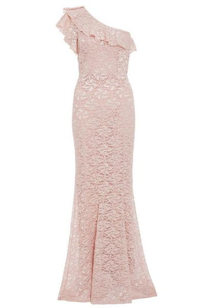 Nude Glitter Lace One Shoulder Maxi Dress