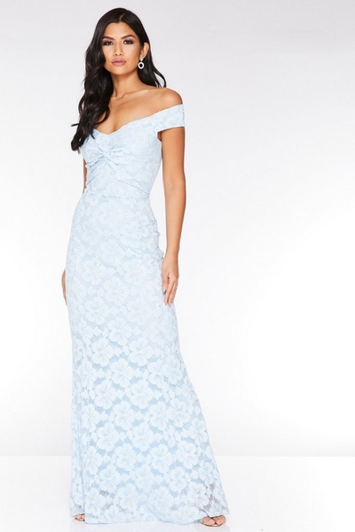 Pale Blue Glitter Lace Knot Front Maxi Dress