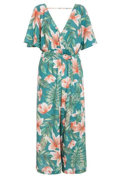 Green and Coral Tropical Cold Shoulder Jumpsuit