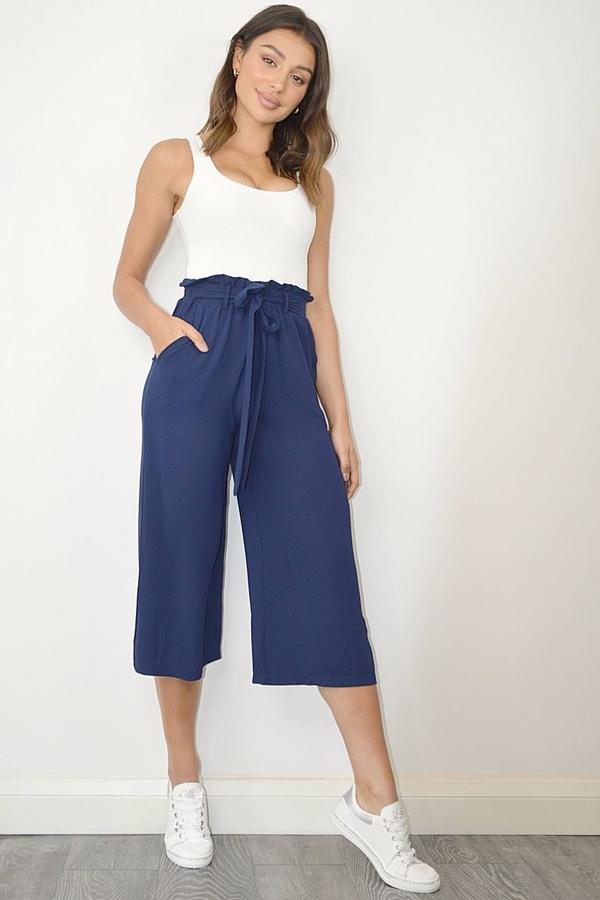 Navy Paper Bag Waist Culotte Trousers