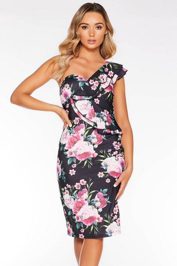 Black and Pink Floral One Shoulder Dress
