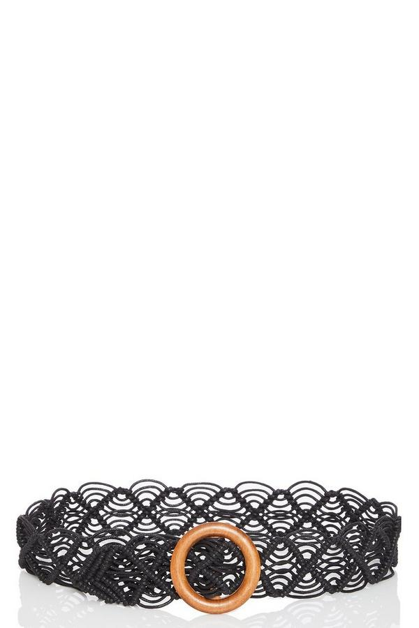 Black Woven Crochet Belt