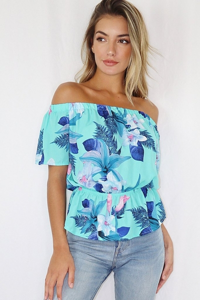 Turquoise and Navy Floral Bardot Top