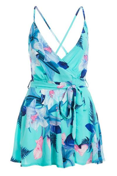 Turquoise and Navy Floral Wrap Playsuit