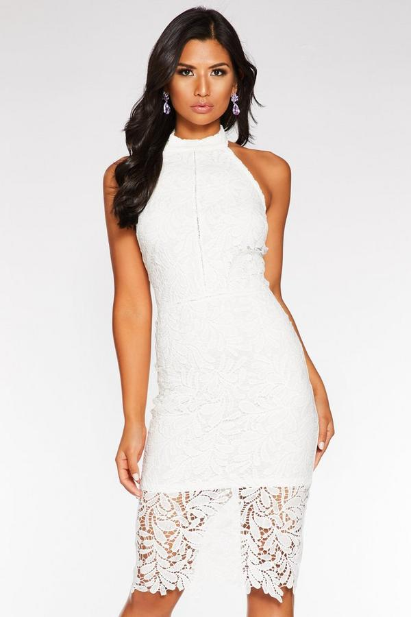 Cream Crochet Halterneck Midi Dress