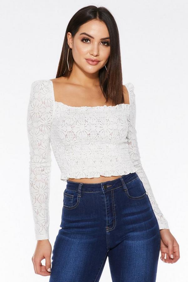 White Crochet Long Sleeve Crop Top