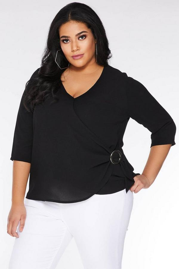 Curve Black Ring Detail Wrap Top