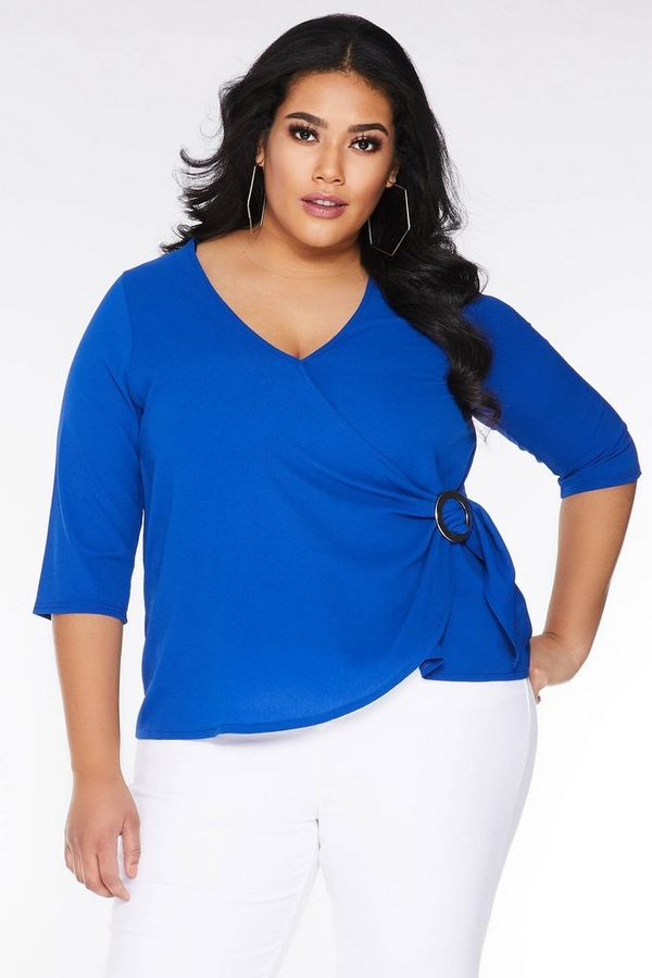 Curve Royal Blue Ring Detail Wrap Top