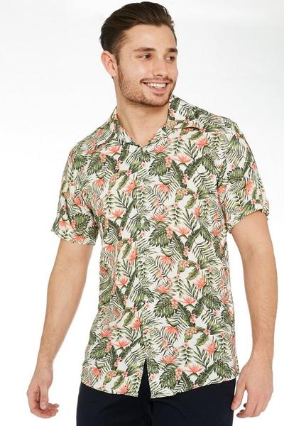 Short Sleeve Revere Collar Floral Shirt