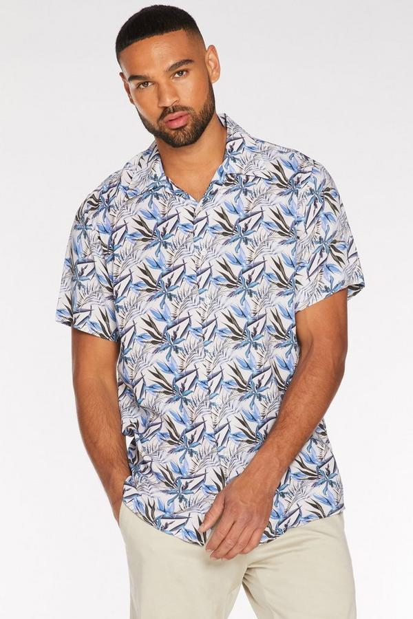 Blue Short Sleeve Floral Print Revere Collar Shirt