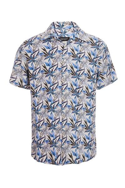 Blue Short Sleeve Floral Print Revere Collar Shirt