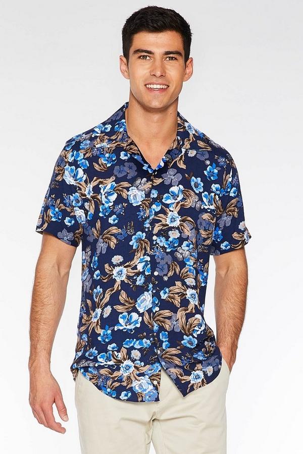 Short Sleeve Revere Collar Flower Print Shirt