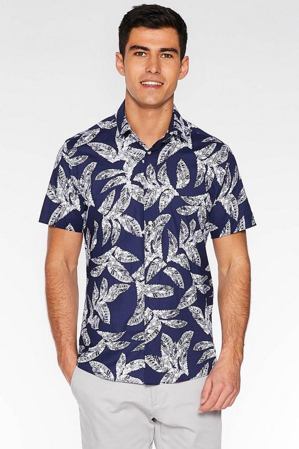 Short Sleeve Tropical Print Shirt