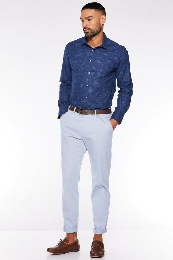 Pale Blue Slim Fit Chino Trouser