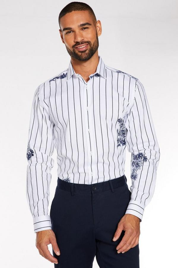 Long Sleeve Striped Floral Shirt