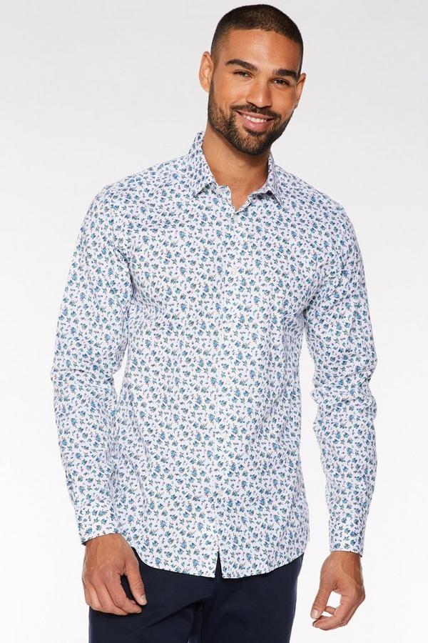 Long Sleeve Miniature Flower Print Shirt