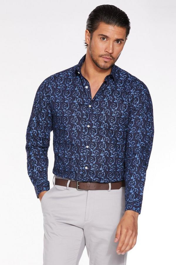 Long Sleeve Spiral Print Shirt