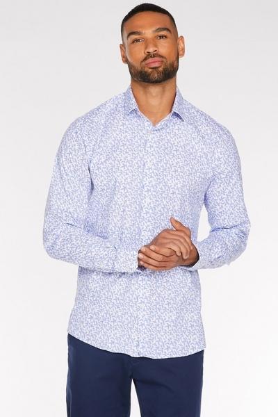 White Long Sleeve Geometric Shirt