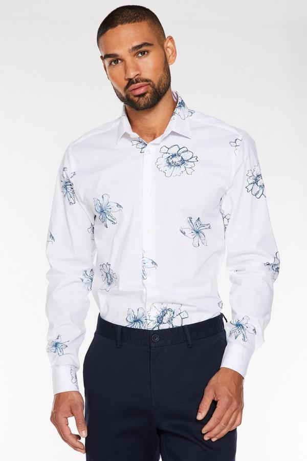 White Long Sleeve Flower Print Shirt