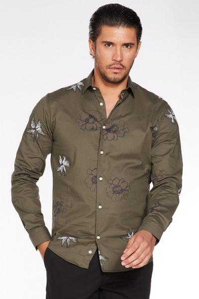 Khaki Long Sleeve Flower Print Shirt