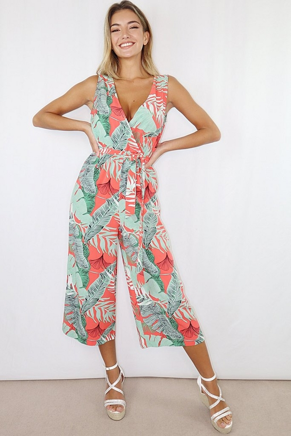 Green And Coral Tropical Wrap Culotte Jumpsuit